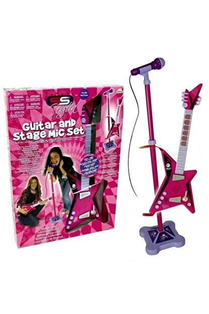 Sunman Karaoke Ayaklı Mikrofonlu Pembe Gitar
