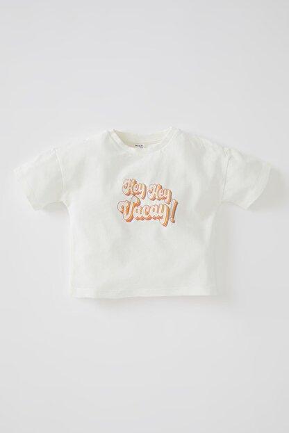 Defacto Unisex Slogan Baskılı Kısa Kollu Pamuklu Tişört