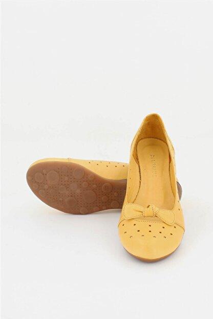 Deripabuc Hakiki Deri Sarı Kadın Deri Babet Trc-2824