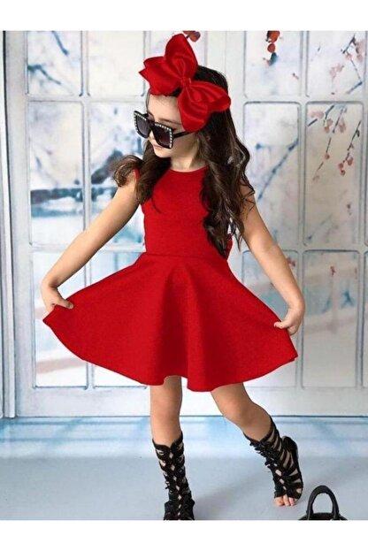 Riccotarz Kız Çocuk Fiyonklu Sırt Dekolteli Kırmızı Elbise