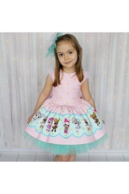 Riccotarz Kız Çocuk Yeşil Tütülü Lol Baby Pembe Elbise