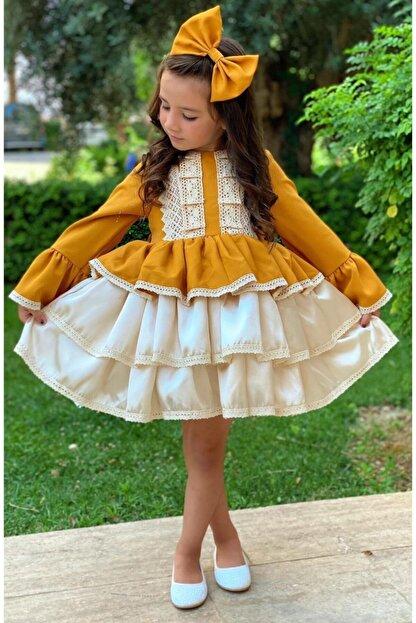 Riccotarz Kız Çocuk Krem Dantel Işlemeli Hardal Elbise