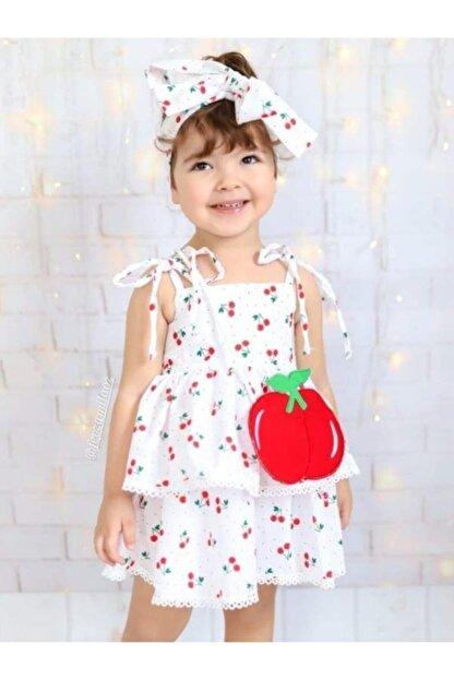 Riccotarz Kız Çocuk Beyaz Cherry Kirazlı Elbise