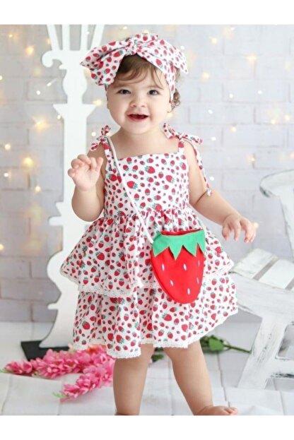 Riccotarz Kız Çocuk Kırmızı Beyaz Strawberry Girl Elbise