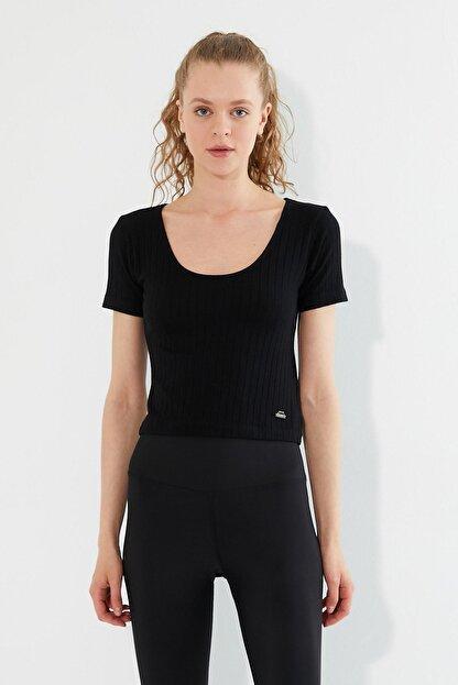 Polo State Kadın U Yaka T-shirt Siyah