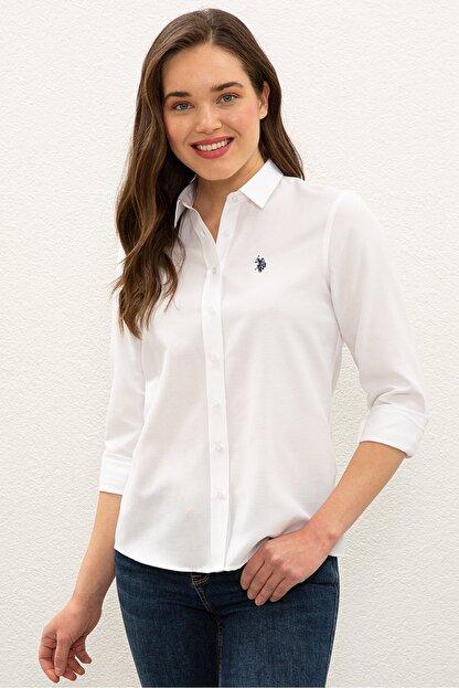 US Polo Assn Beyaz Kadın Gömlek