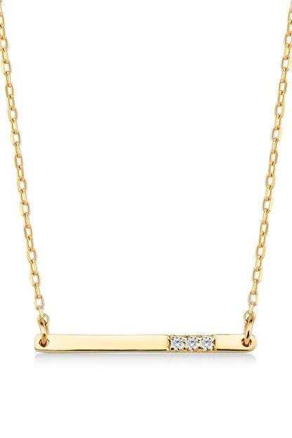 Gelin Pırlanta Kadın Altın  Diamond Pırlantalı Bar Kolye 14 Ayar