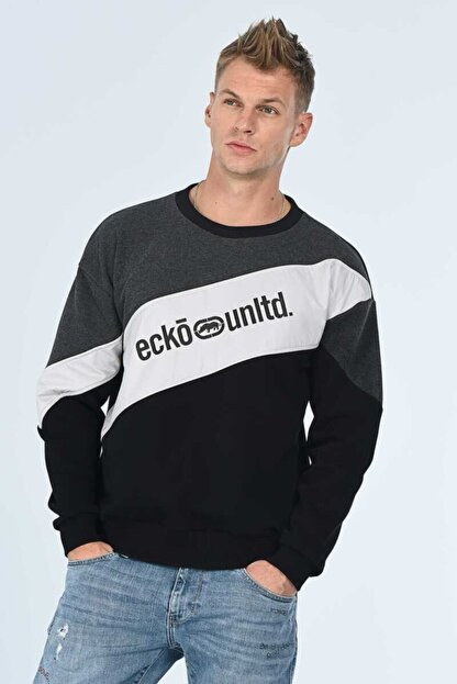 Ecko Unltd SALVADOR Gri Oversize Erkek Baskılı Bisiklet Yaka Sweatshirt