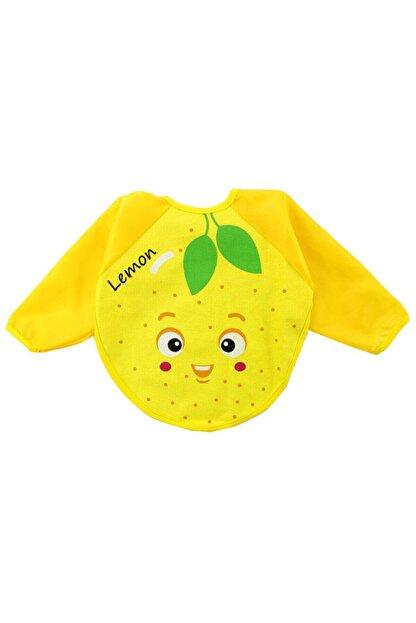 Kids Buude Unisex Bebek Sarı Limon Motif Kollu Bebek Mama Önlüğü