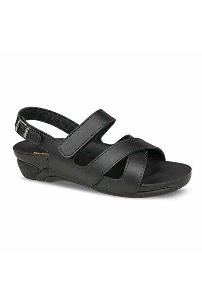 Ceyo Kadın Siyah Rahat Ortopedik Sandalet Venedik-8