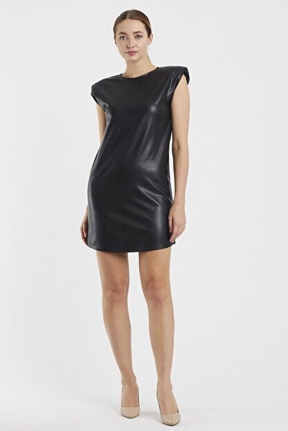 Sateen Kadın Siyah Vatkalı Elbise