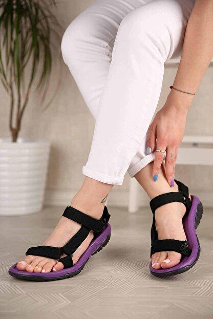 Ccway Kadın Siyah Mor Cırtlı Sandalet