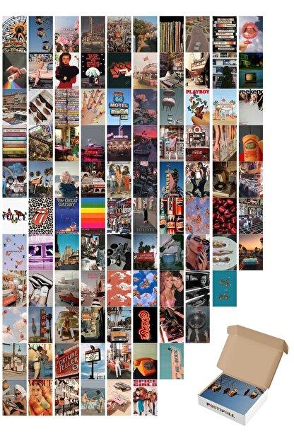 postifull Vintage Poster Seti - Kolaj Set - 100 Adet -retro Poster Seti - 10cm*15cm - Kalın Kağıt - Kutulu Set