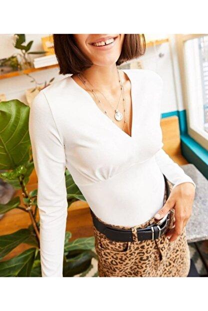 JANES Kadın Krep Kumaş Kruvaze Yaka Bluz 40cm