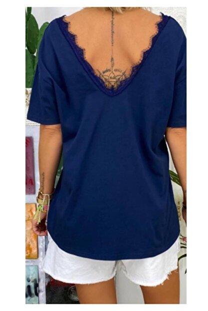 ELBİSENN Yeni Model Kadın Ön Arka V Yaka Gupur Detay Bluz(lacivert)