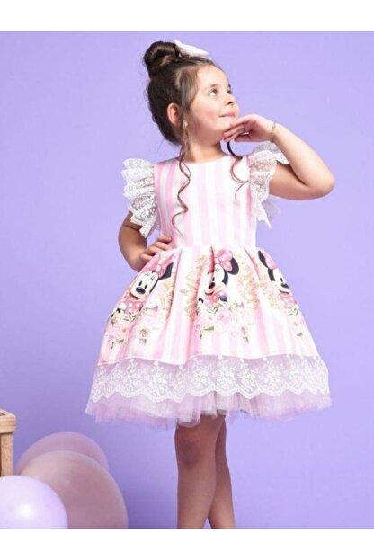 Riccotarz Kız Çocuk Pembe Minnie Çizgili Dantel Işlemeli Elbise