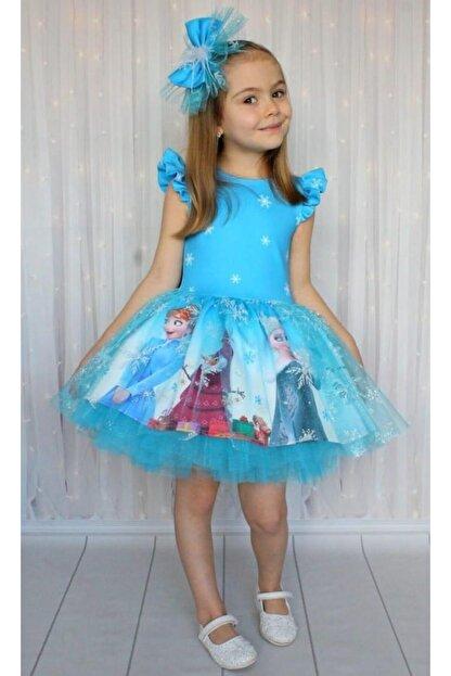 Riccotarz Kız Çocuk Karlar Kraliçesi Mavi Elbise