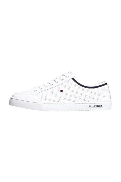 Tommy Hilfiger Erkek Beyaz Casual Ayakkabı Core Corporate Deri Sneaker FM0FM00552