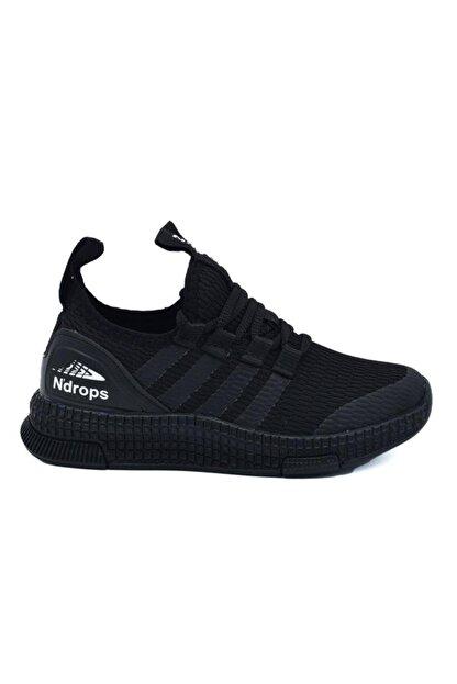 N Drops Unisex Çocuk Siyah Spor Ayakkabı