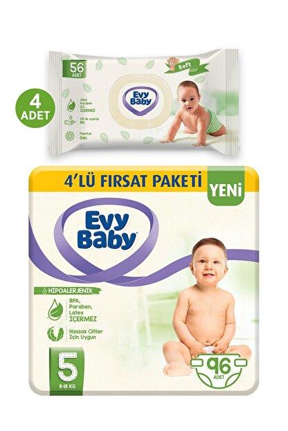 Evy Baby Bebek Bezi 5 Beden Junior 96 Adet Ve 4 Paket Islak Hvl