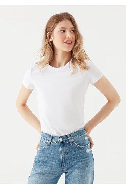 Mavi Beyaz Basic Tişört