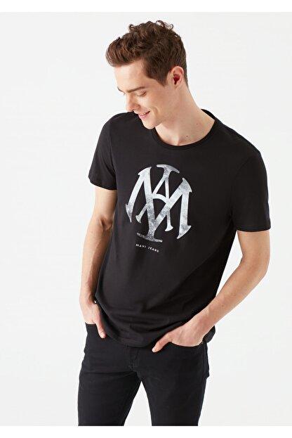 Mavi Mühür Logo Baskılı Siyah Tişört