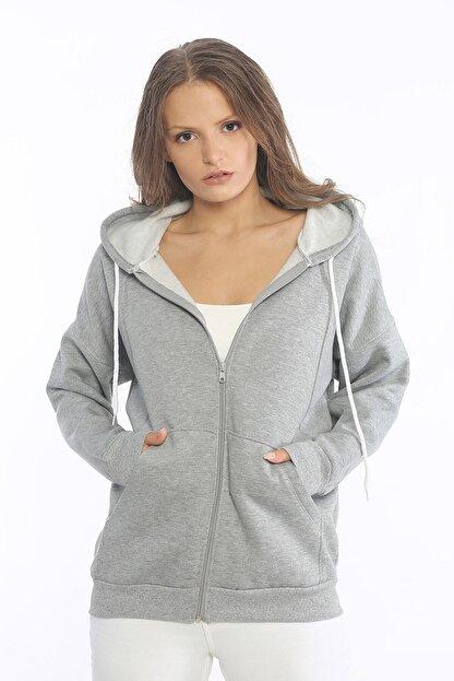 Be Happy Woman Kadın Gri Cepli Fermuarlı Sweatshirt
