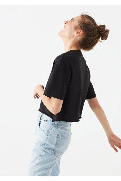 Mavi Siyah Crop Tişört