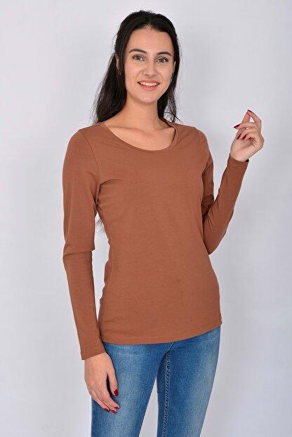 Letoile Pamuk Likralı Uzun Kollu Kadın T-shirt Kiremit