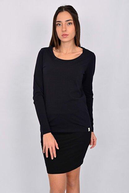 Letoile Pamuk Likralı Uzun Kollu Kadın T-shirt Lacivert