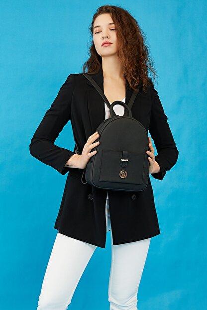 US Polo Assn Sıyah-sıyah Kadın Sırt Çantası Us8202
