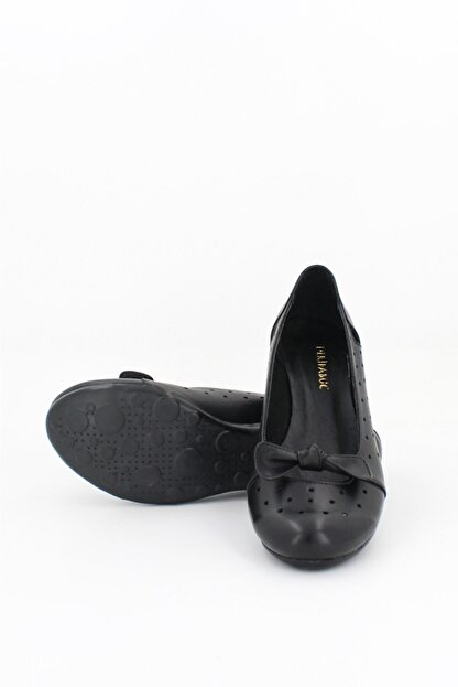 Deripabuc Hakiki Deri Siyah Kadın Deri Babet Trc-2824
