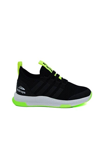 N Drops Unisex Çocuk Siyah Sarı Spor Ayakkabı