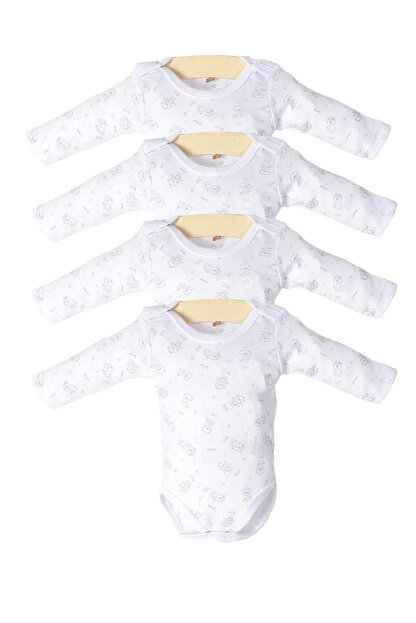 Pattaya Kids Erkek Bebek Beyaz Çıtçıtlı Uzun Kollu 4'lü Zıbın Takımı Ptk20s-408