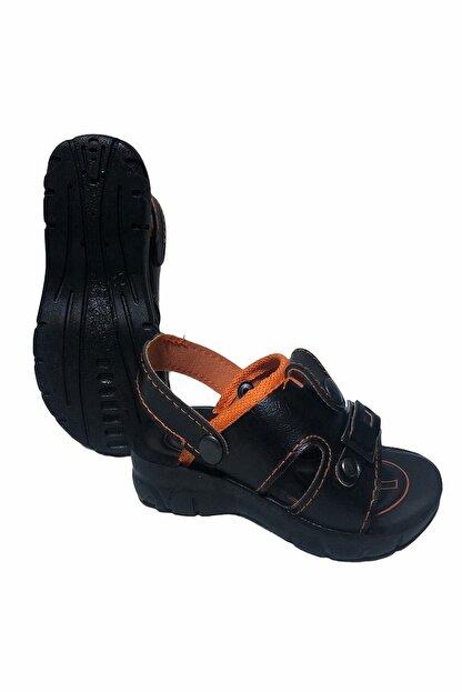 Gezer Çocuk Dört Nokta Deri Ortapedik Siyah-turuncu Sandalet Terlik- Altın Adım Ayakkabı