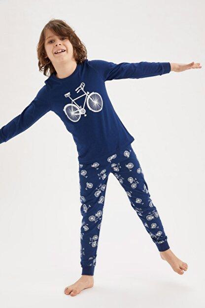 Defacto Erkek Çocuk Bisiklet Basklı Pijama Takımı
