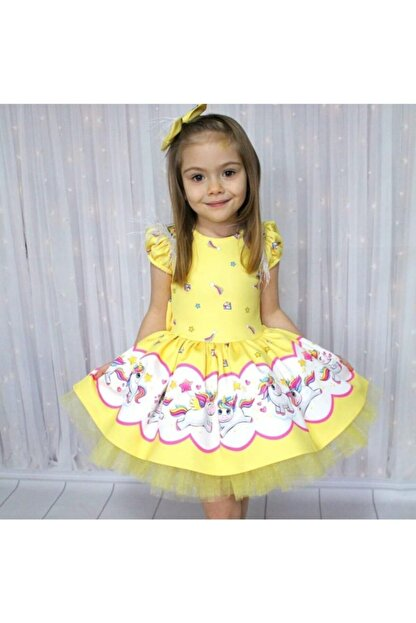Riccotarz Kız Çocuk Unicorn Pony Omuz Tüylü Sarı Elbise