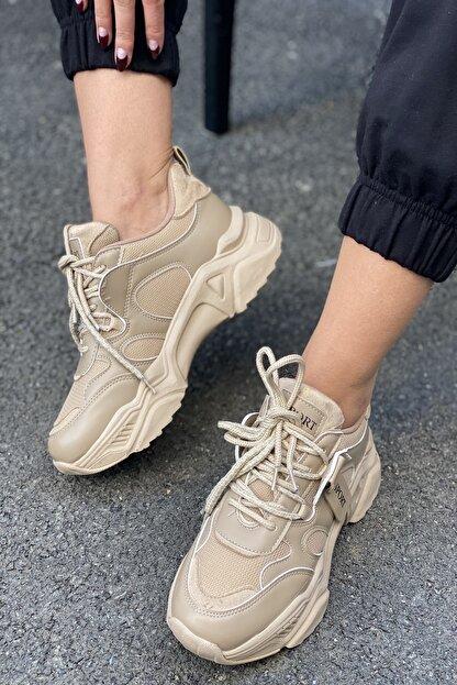 İnan Ayakkabı Kadın Bej Bağcıklı Sneaker
