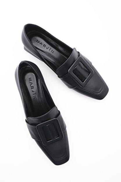 Marjin Kadın Günlük Klasik Topuklu Ayakkabı Jiyonasiyah