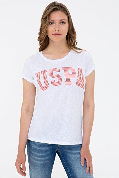 US Polo Assn Beyaz Kadın T-Shirt
