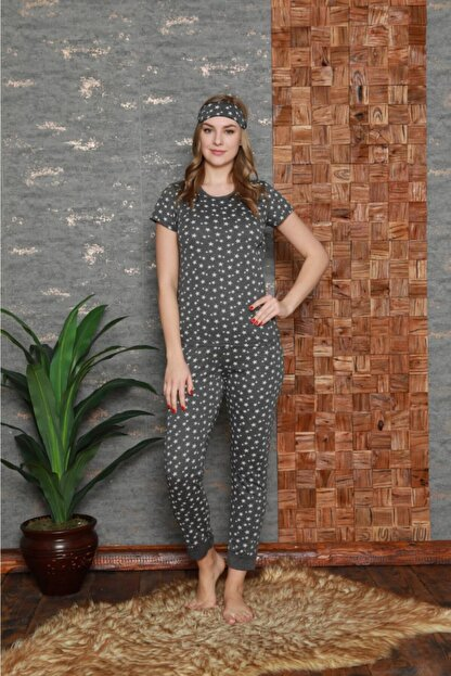 Stil Moda Kadın Antrasit Pamuklu Baskılı Kısa Kol Pijama Takım Stl4242