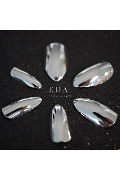 EDA LUXURY BEAUTY Gümüş Metalik Takma Tırnak Lüks Parlak Uzun Oval Almond Stiletto Nail Art Yapıştırıcı Set