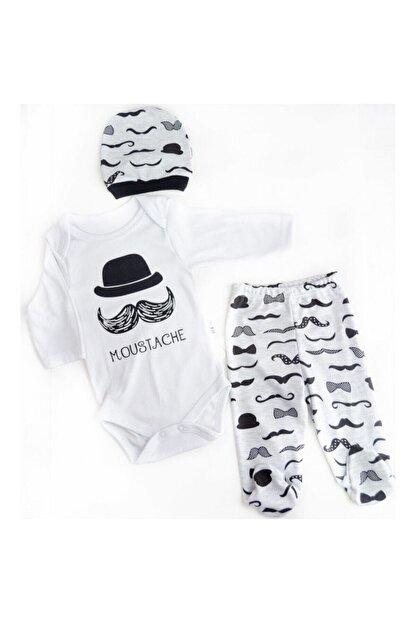 Mini Bird Bıyıklı Şapkalı  Erkek Bebek Takımı 3'lü
