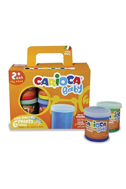 Carioca Baby Yıkanabilir Parmak Boyası - 6 Renk x 80 gr - Ko032