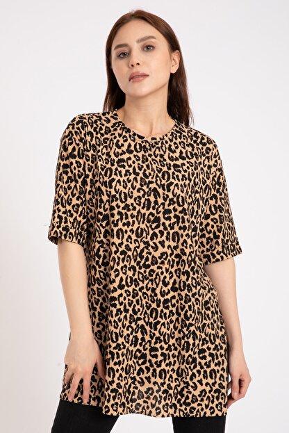 GİYSA Kadın Kahverengi Duble Kol Batik Kaşkorse Leopar T-shirt 3682