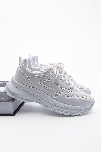 Marjin Kadın Sneaker Dolgu Topuk Spor Ayakkabı Besribeyaz