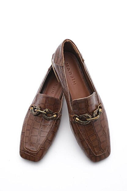 Marjin Kadın Loafer Ayakkabı Alvakahve Croco