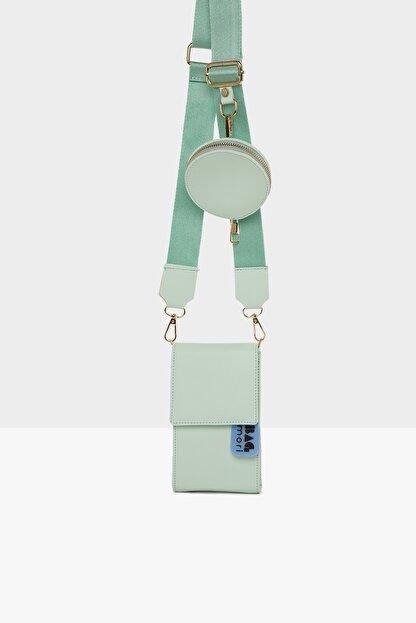 Bagmori Yeşil Kadın Üç Bölmeli Cüzdan Detaylı Mini Çanta M000005867