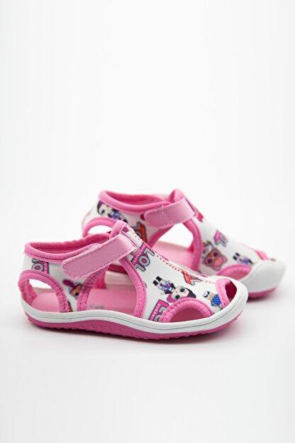 modawars Kız Çocuk Beyaz Pembe Kumaş Sandalet