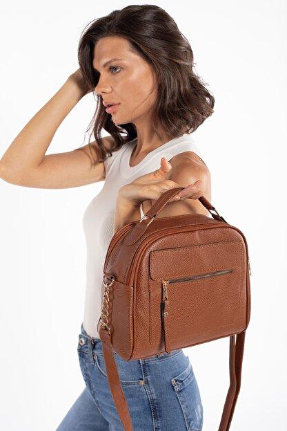 Madamra Aynı Butikte 2. Ürün 1 TL Taba Kadın Çok Bölmeli Omuz Çantası Çapraz Çanta ve El Çantası